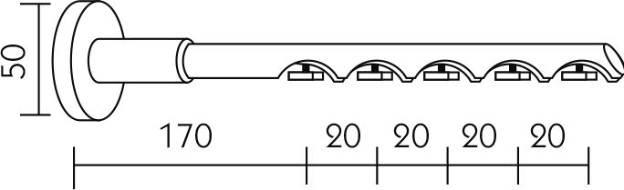 Karnisz panelowy Daria wspornik ścienny 5-biegowy