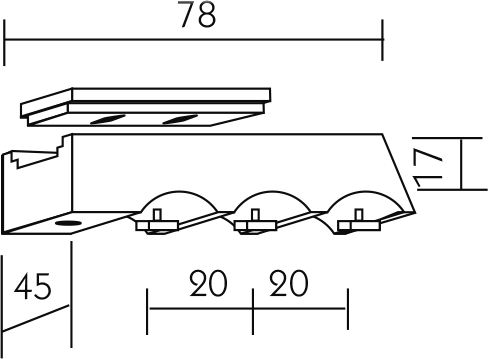 Karnisz panelowy Daria wspornik sufitowy 3-biegowy